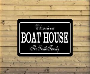 Personalized Lake House Metal Sign Custom Vacation Home Plaque fishing cabin LH5