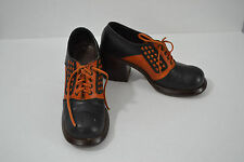 Vintage 70s Colorblock Oxford Shoes SZ 6.5 Stacked Heel Wood Brown Two Tone