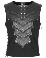 Punk Rave Mens Dieselpunk Armour Waistcoat Vest Top Black Gothic Faux Leather