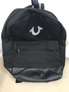 True Religion Brand Jeans Black Canvas & Leather Bottom Logo Computer Backpack
