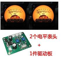 2pcs Panel VU Meter Warm Back Light Audio Level Amp + One driver board