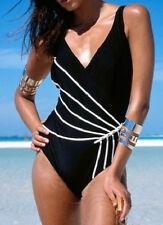 Damen Badeanzug schwarz weiß Gr. 38 figurformend