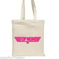 Cotton tote bag top mum gift white shopper long handle