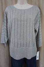 Elementz Top Sz L Pearl Metallic 3/4 Sleeve Evening Sheer Knit Blouse