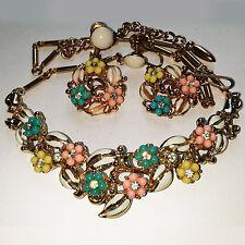 Vintage Coro Spring Flowers Necklase & Earrings Set