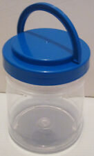 4 CLEAR ACRYLIC HANDLED STORAGE CONTAINERS CRAFT SCHOOL SMALL PARTS SCREW ON LID