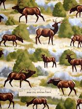 Timeless Treasures Elk 9934 Animal Grazing Nature Wildlife Cotton Fabric Yard
