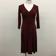 Donna Morgan womens dress red black print strech knit 3/4 sleeve ruched front 4P
