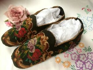 *RARE*~ Antique Victorian BERLIN WOOLWORK Tapestry Gents Slippers c.1850's Worn