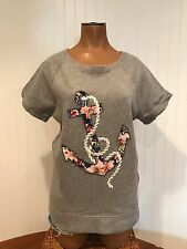 J Crew Floral Anchor Short Sleeve Cotton Knit Top Delta Gamma Size M