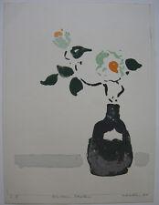 Oskar Koller Blumen in Vase Orig Farblithographie signiert 1977 aquarelliert