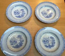 "William Brownfield SET/ 4 ""Inkermann"" 10"" Blue Transferware Soup Bowls 1850-1890"