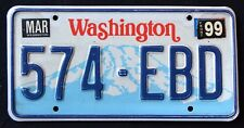 "WASHINGTON "" MOUNT RAINIER - 574 EBD "" 1999 WA Vintage Classic License Plate"