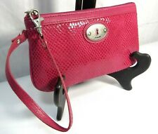 FOSSIL PINK LEATHER  WRISTLET CLUTCH PURSE-ORGANIZER