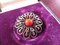 Elegante 835 Silber Brosche Jugendstil Art Deco Blume Blüte Koralle Filigran Top