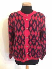 Vintage Edinburgh Heritage Mohair Red Navy Diamond Cardigan - Large 14 16 - VGC