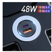 48W QC PD 4.0 3.0 Quick and fast Car Charging Type-C USB Charger QC+PD