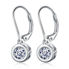 5MM Round Crystal CZ Leverback WaterDrop Dangle Solid Sterling Silver Earrings