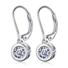 5MM Round Crystal CZ Leverback Water Drop Dangle 925 Sterling Silver Earrings