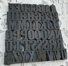 "A-Z alphabet 2.52"" letterpress wooden printing blocks wood type Vintage printer."
