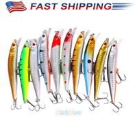 10pcs Hard Fishing Lures Crankbaits Hook Minnow Baits Crank Fishing Tackle Kit