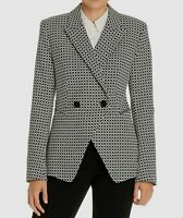 $945 Elie Tahari Womens Black Jezebel Print Double Breasted Blazer Jacket Size 8