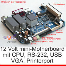 MINI MOTHERBOARD NX1500 MIT CPU AMD 1500 RS232 LPT USB 12V BETRIEB PCI RISERCARD