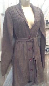 Brown Tie Belt Knitted Cardigan Size Medium