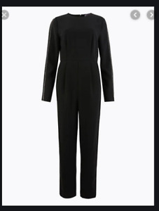 BNWT M&S Size 14 Black Jumpsuit Silver Studded Detail Round Neck Pockets Holiday