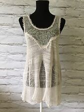 Free People XS Pale Gray Aqua Embroidered Sequin Destructed Sweater Tank Boho