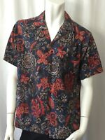 Hilo Hattie Size Medium Men's SS Hawaiian Aloha Shirt Tropical Blue Floral Fish