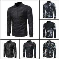 Long Sleeve Tops Black Casual Slim Fit Outwear Zipper Mens Coat Base Ball Jacket