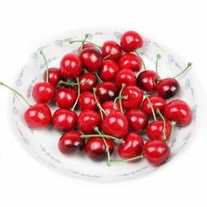 10/20/50Pcs Realistic Artificial Fake Plastic Cherry Fruit Ornaments Home Decor