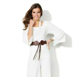 IMAN Size 2X Luxury Resort Top and Necklace WHITE
