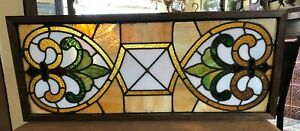 "31"" Antique stained glass art deco framed window transom university of Iowa gold"