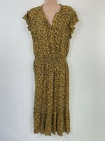 NEXT mustard yellow black floral print fit & flare midi dress size 16 euro 44