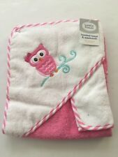 Baby Girl Hooded Towel & Washcloth Set Owl Pink White Layette Gift