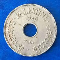 Israel Palestine British Mandate 10 Mils 1940 Coin