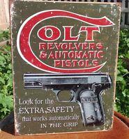 Colt Revolvers Automatic Pistols Gun Tin Metal Sign Safety 2nd Amendment