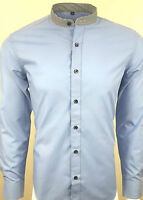 MENS GRANDAD STRIPE COLLAR LONG SLEEVE FORMAL SHIRT WAS £29.99 TO 14.99(317