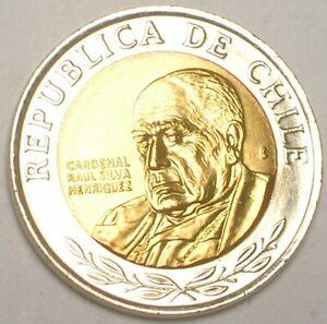 2013 Chile Chilean 500 Pesos Henriquez Bimetal Coin XF+