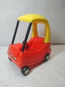 """Vintage Little Tikes Cozy Coupe 6"""" Car Red Yellow Miniature For Dollhouse Dolls"""