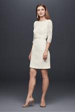 David's Bridal 3/4 Sleeve Lace Sheath Wedding/Cocktail Dress size 10