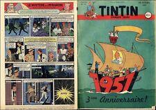 TINTIN 1951 FR n° 157 25/10/1951 Couv HERGé  BE+/TBE