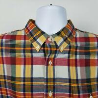 Ralph Lauren Mens Pocket Blue Red Gray Plaid Heathered Cotton Dress Shirt Sz XL