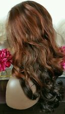 Beautiful Curly Lace Front Wig Copper /Dark Brown Heat Safe