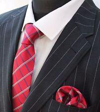 Tie Neck tie with Handkerchief Red Silver White & Blue
