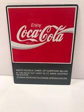 Enjoy Coca Cola Metal Sticker 5x4 Vending Machine Sign Red Original Vintage