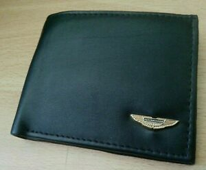 Genuine leather wallet 24ct gold plated badge bi-fold black aston martin