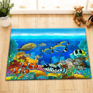 Undersea Coral Reef Fish Shower Curtain Set Bathroom Mat Polyester Fabric Hooks